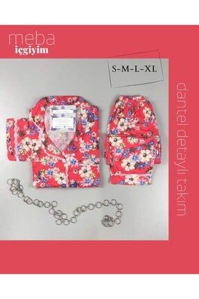 Meba Kadın Önden Düğmeli Çiçek Desenli Nar Çiçeği Pijama Takımı