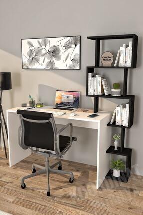 Koordinat Mobilya 120x50 Pratik Kitaplıklı Çalışma Masası Beyaz Siyah
