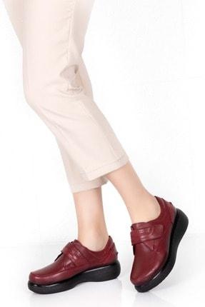 Gondol Kadın Bordo Deri Kışlık Rahat Ayakkabı Elnr.5008-1