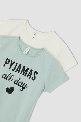 DeFacto Kız Çocuk Baskılı 2'li Kısa Kol Pijama Üstü
