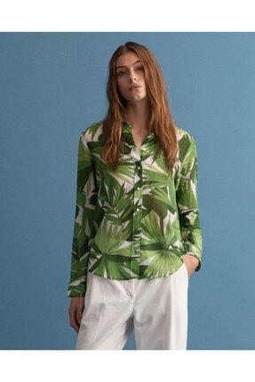 Gant Kadın Yeşil Floral Desenli Ipek Gömlek