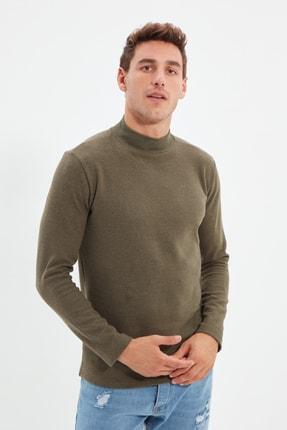 TRENDYOL MAN Haki Erkek Slim Fit Yarım Balıkçı Yaka Uzun Kollu T-Shirt TMNAW21TS0280