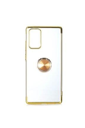 Sunix Samsung Galaxy Note 20 Yüzüklü Boyalı Lazer Silikon Kılıf Gold