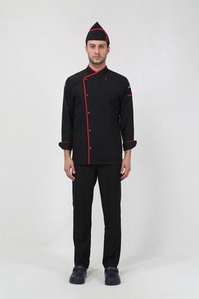 TIPTEKS Kırmızı Biyeli - Siyah Klasik Aşçı Ceketi