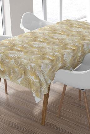 Ysahome Altın Renkli Palmiye Ağacı Desenli Masa Örtüsü