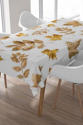 Ysahome Altın Yaprak Desenli Masa Örtüsü