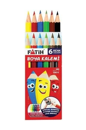 Fatih Kuru Boya Kalemi Küçük Yarım Boy 6 Renk 33006 Fa33006kb6ryb