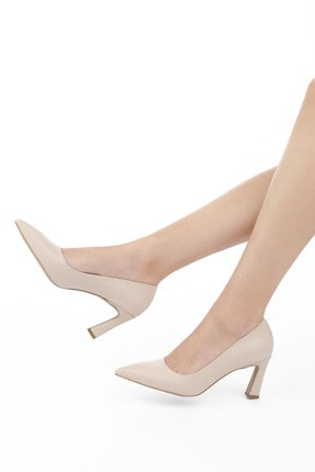 Marjin Kadın Bej Stiletto Topuklu Ayakkabı Akuna