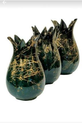 Vk çini ve seramik Zümrüt Yeşili Üçlü Vazo Lale Takımı