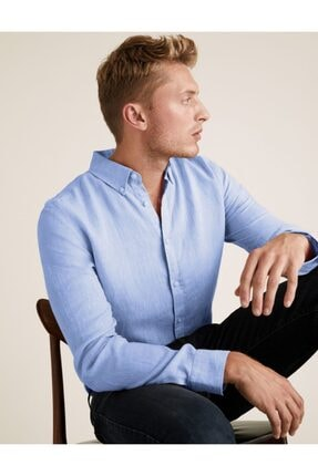 Marks & Spencer Saf Keten Regular Fit Gömlek
