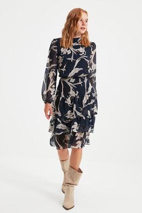 TRENDYOLMİLLA Lacivert Volanlı Elbise TWOAW21EL0354