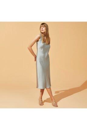 Mudo Dökümlü Saten Midi Elbise
