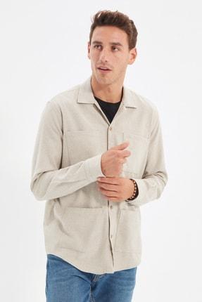 TRENDYOL MAN Bej Erkek Regular Fit Cepli Gömlek TMNAW21GO0537