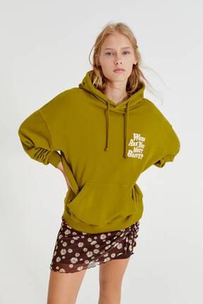 Pull & Bear Sırtı Grafik Baskılı Oversize Sweatshirt