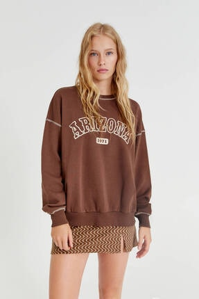 Pull & Bear Kahverengi Arizona Sloganlı Sweatshirt