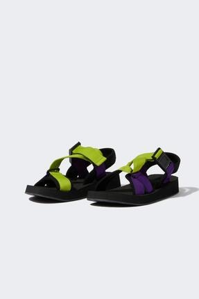 DeFacto Kadın Yeşil Çift Bantlı Renkli Sandalet U3547AZ21SM