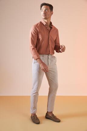 DeFacto Erkek Kahverengi Tailored Fit Basic Chino Pantolon U4474AZ21SM