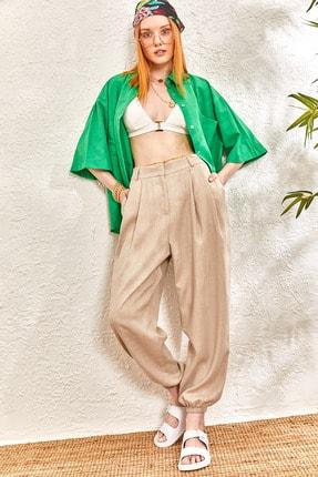 oshebu Kadın Keten Paçası Lastikli Pileli Pantolon