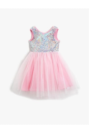 Koton Kız Çocuk Pembe Pullu Tüllü Elbise