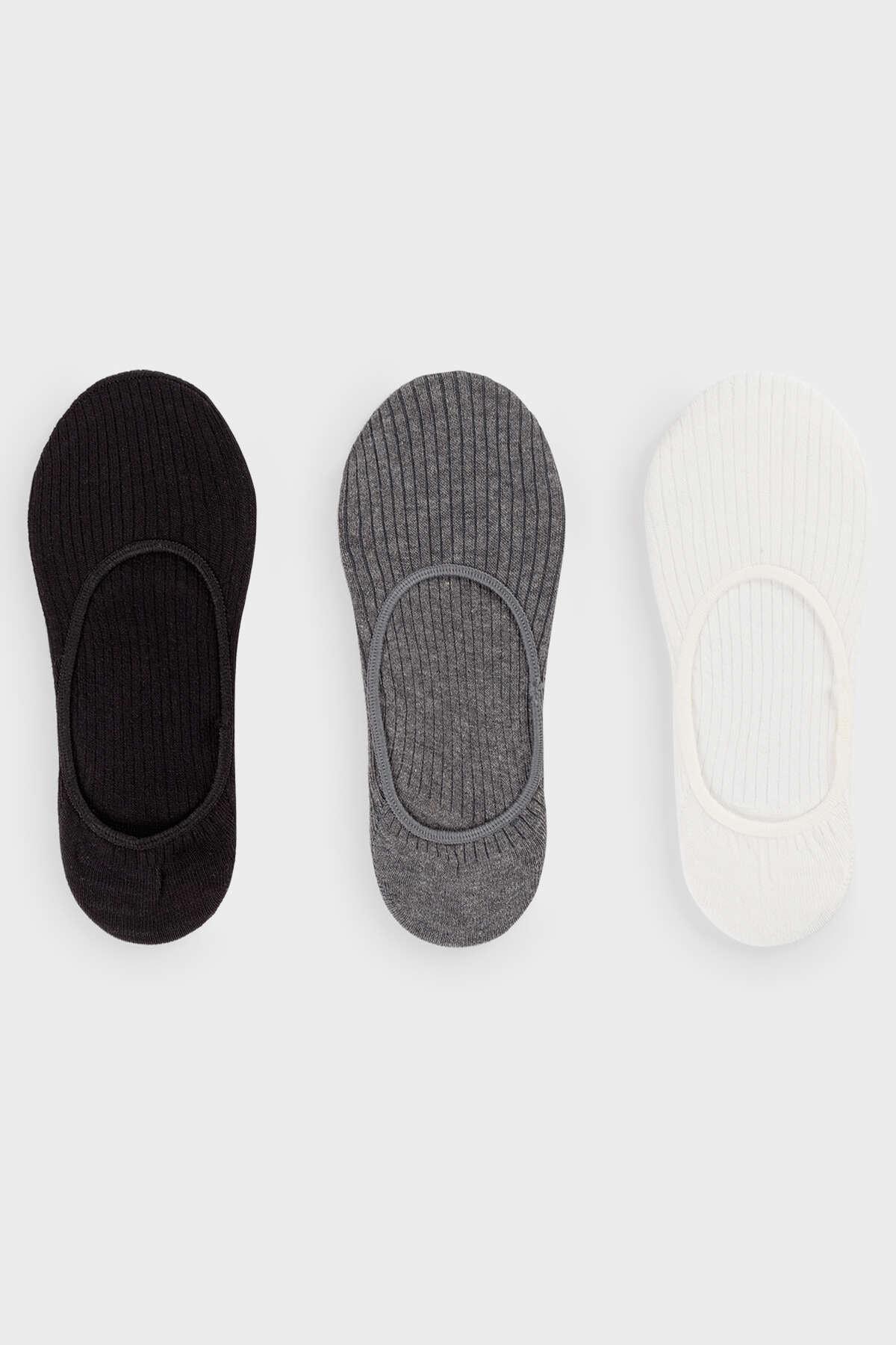 Oysho Gri 3 Çift Fitilli Pamuklu Görünmez Çorap 32302487