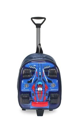 MATEKS Mavi Yarış Arabası Anaokulu Ilkokul Çekçekli Ve Sırt Çantalı