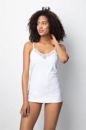 BDL İç Giyim Kadın İp Askılı Güpürlü Ribana Atlet Beyaz