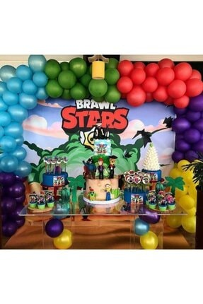 BRAWL STARS 100 Adet 12 Inç Metalik Balon + 5 Mt Balon Zinciri Konsept Balon Parti Doğum Günü