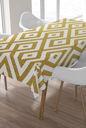 Ysahome Gold Renkli Zeminde Kare Örüntü Desenli Masa Örtüsü