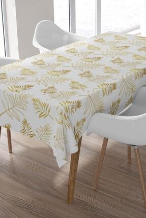 Ysahome Gold Renkli Yaprak Desenli Masa Örtüsü