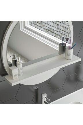 bluecape Yuvarlak Beyaz Raflı 45cm Aynalı Banyo Dolabı Konsol Duvar Salon Mutfak Wc Ofis Çocuk Yatak Odası