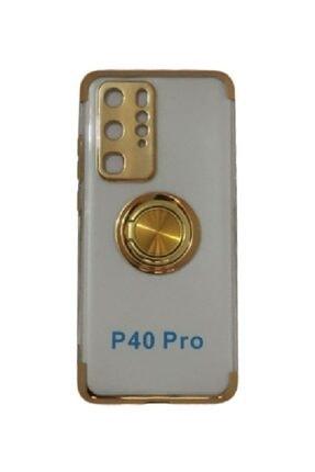 Sunix Huawei P40 Pro Yüzüklü Dört Köşe Lazer Silikon Kılıf Gold