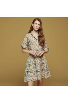 Mudo Çiçek Desenli Fırfırlı Şifon Elbise