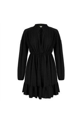 Mudo V Yaka Nakış Detaylı Kloş Mini Elbise