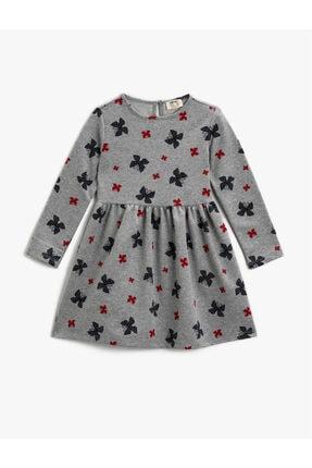 Koton Kız Çocuk Gri Baskılı Elbise