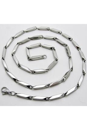 ALPHA SİLVER Erkek Çelik Kolye Küp Üçgen Model Zincir Eck05