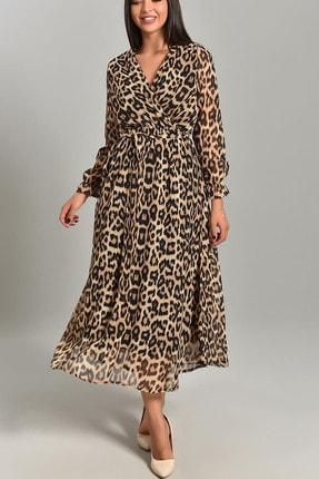 Elbise Delisi Kadın Leopar Uzun Kruvaze Yaka Şifon Elbise