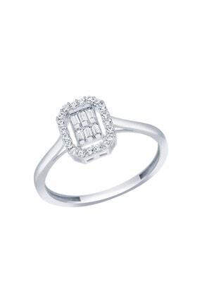 Diamond Line-Gülaylar Beyaz Altın 8 Ayar Baget Taşlı Yüzük