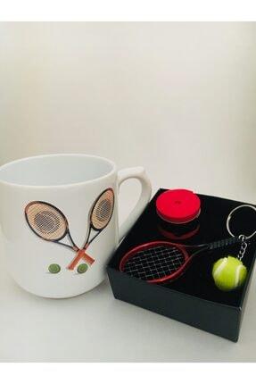 Giftocom Renkli Tenis Bardak Kırmızı Tenis Raketi ve Topu Anahtarlık Avessa Tekli Kırmızı Grip