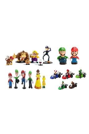 e-life ESMR4X Süper Mario Luigi &Arkadaşları Aksiyon Figür Oyuncak Koleksiyon Seti 19 Parça 4 Set Bir Arada