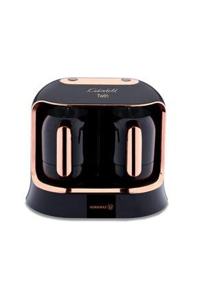 KORKMAZ Kahvekolik Deluxe Twin Siyah/rosagold Kahve Makinesi