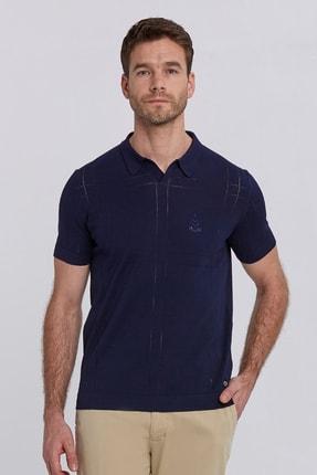 Hemington Erkek Lacivert Nakış Detaylı Triko Polo Yaka T-shirt