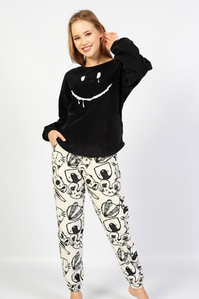 VİENETTA Loft Polar Düşük Omuzlu Uzun Kol Pijama Takım
