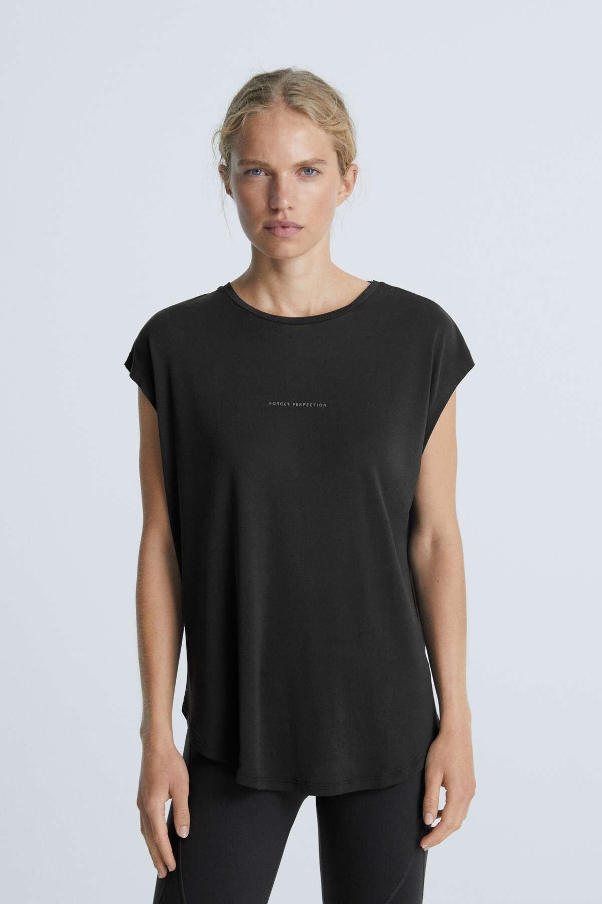 Oysho Kadın Siyah Yazılı Modal Tişört 30666450