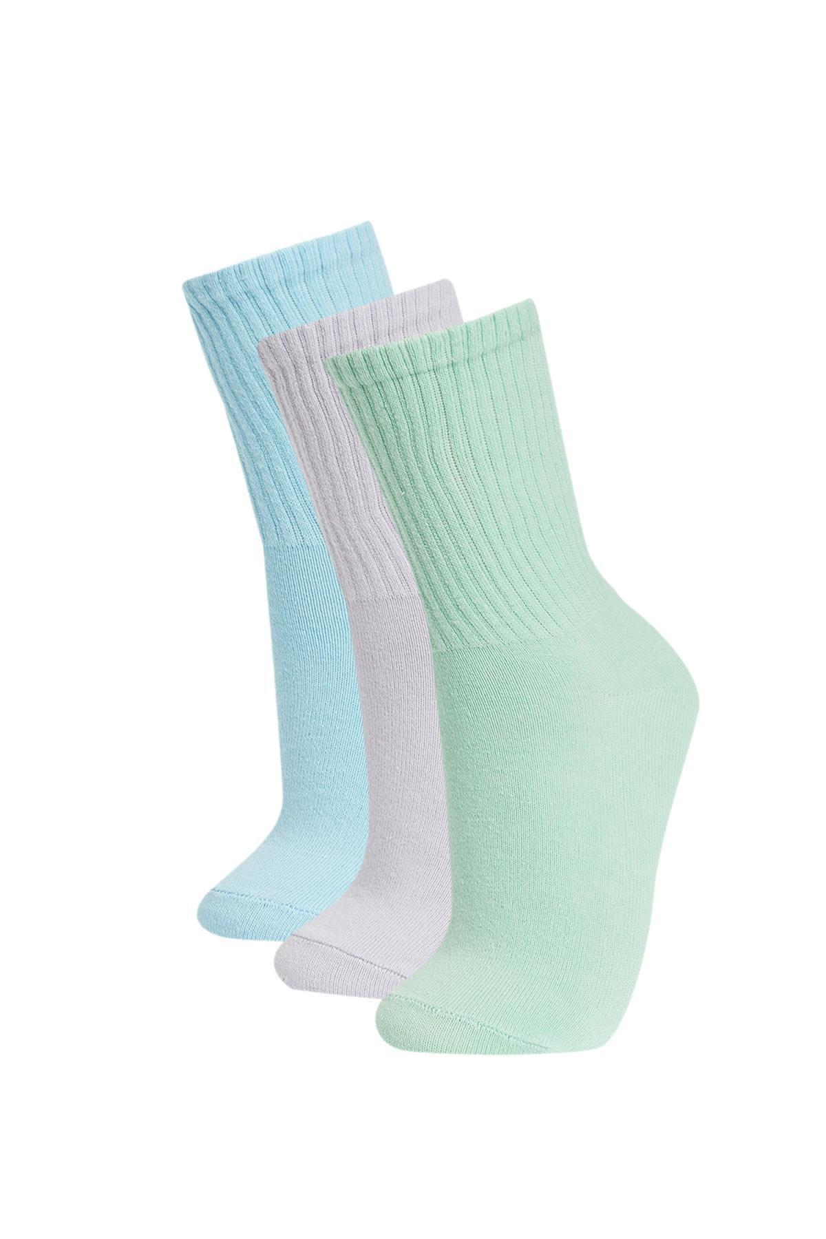 DeFacto Kadın Çok Renkli Basic 3'Lü Soket Tenis Çorap V5071AZ21AU