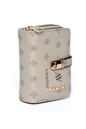Armine C 01 Kadın Baskılı Küçük Boy El Çanta&cüzdan - Vizon - Tek Ebat