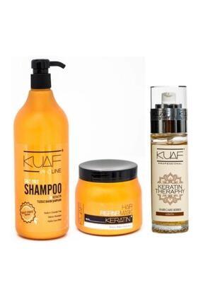 Kuaf Kırık Onarıcı Saç Bakım Yağı 80ml + Tuzsuz Şampuan 1000 Ml + Keratin Maskesi 500 Ml