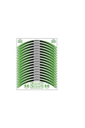Kawasaki Yeşil Siyah Reflektörlü Jant Şeridi