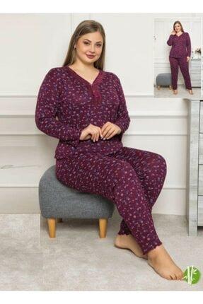 Sude Kadın Bordo Büyük Beden Bambu Pijama Takımı