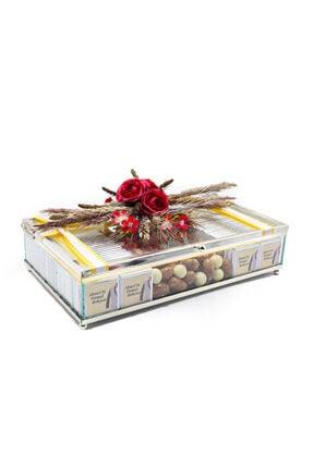 Şekerci Osman Cam Kutu - Lili ( 120 Adet Çikolata)-nişan Söz Çikolatası- Damat Bohçası