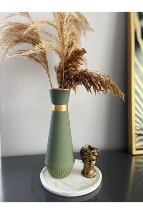 CS Home Design Yeşil Yaldız Cam Vazo